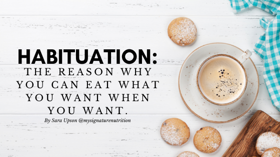 """A white saucer and tea cup filled with a frothy, milky drink sit on a white table surrounded by muffins sprinkled with powdered sugar with text that reads: """"Habituation: The Reason Why You Can Eat What You Want When You Want."""""""