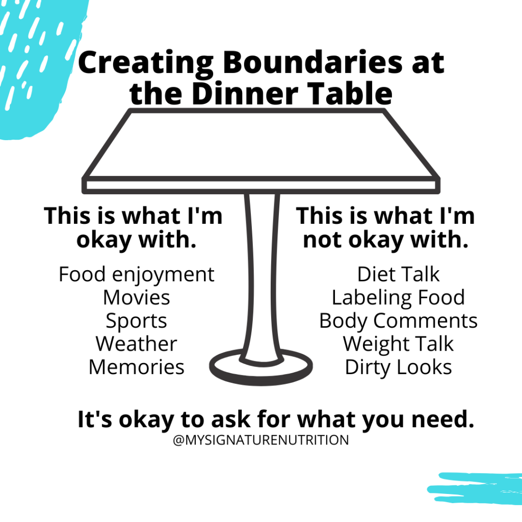 Image reads creating boundaries at the dinner table with an image of a black table in the middle.  Text below the table defines boundaries that your okay with and boundaries you're not okay with.